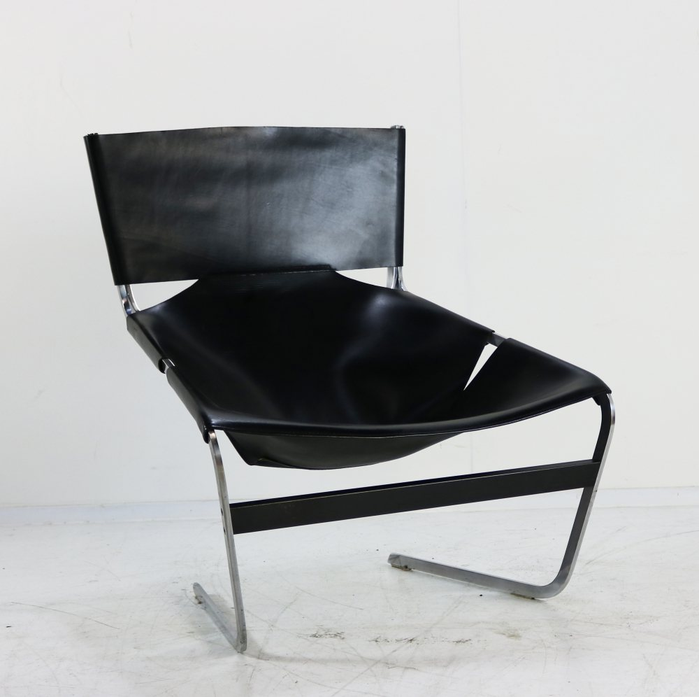 Black leather lounge chair by Pierre Paulin for Artifort