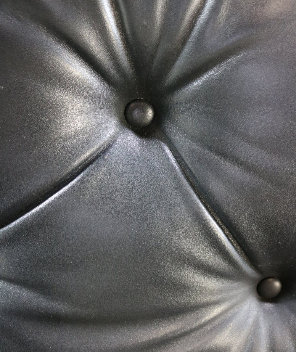 Three seater sofa in black leather by Kho Liang Ie for Artifort