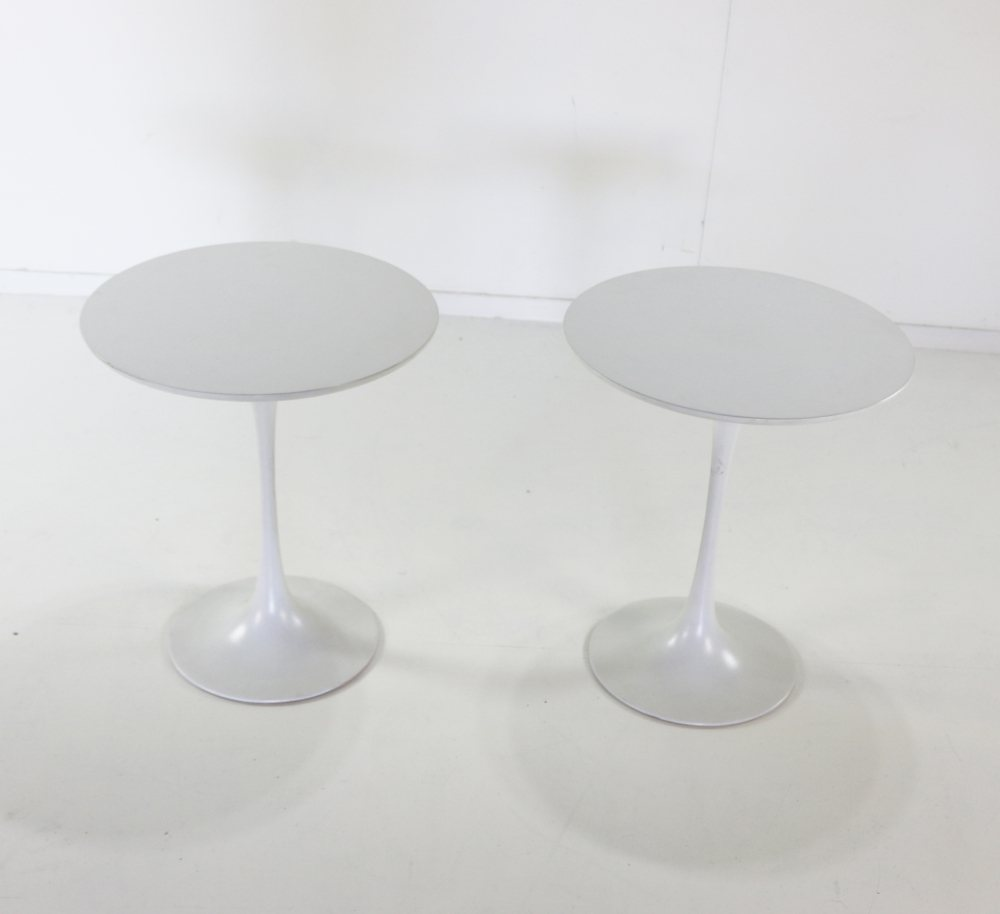 Two tulip base side tables for Arkana