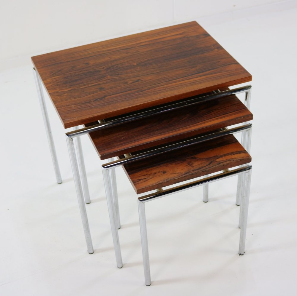 Dutch design chromed and rosewood set of nesting tables