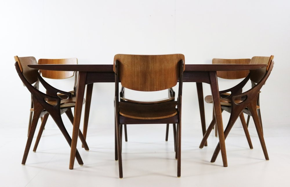 Set of six teakwood dining chairs by Hovmand Olsen