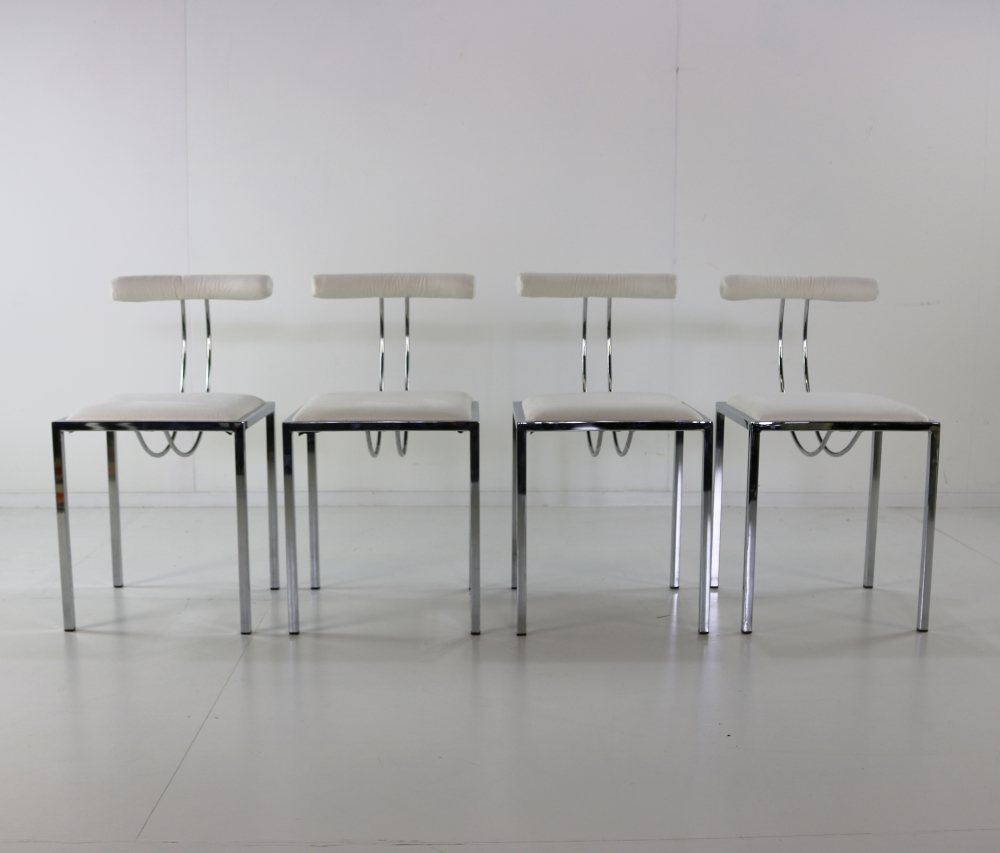 Set of four Italian design dining chairs