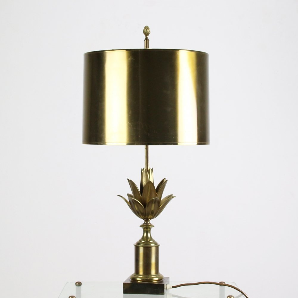 Maison Charles lotus table lamp with brass colored metal hood