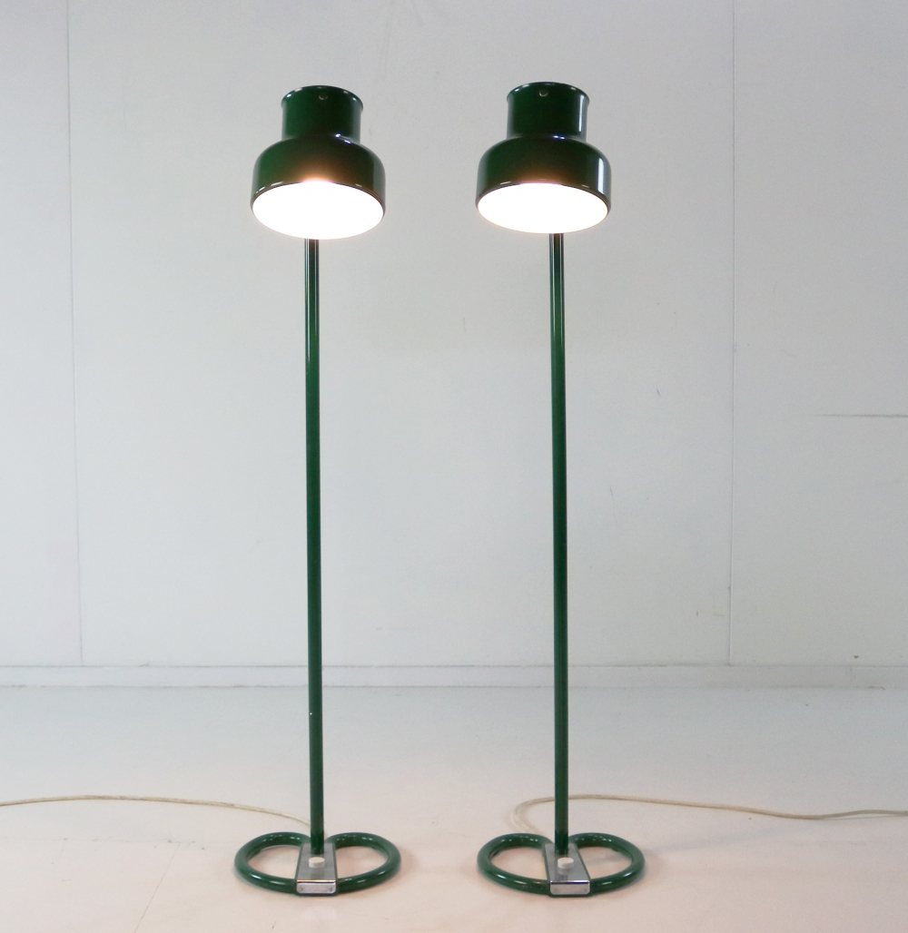 Set of two bumbling green floor lamps