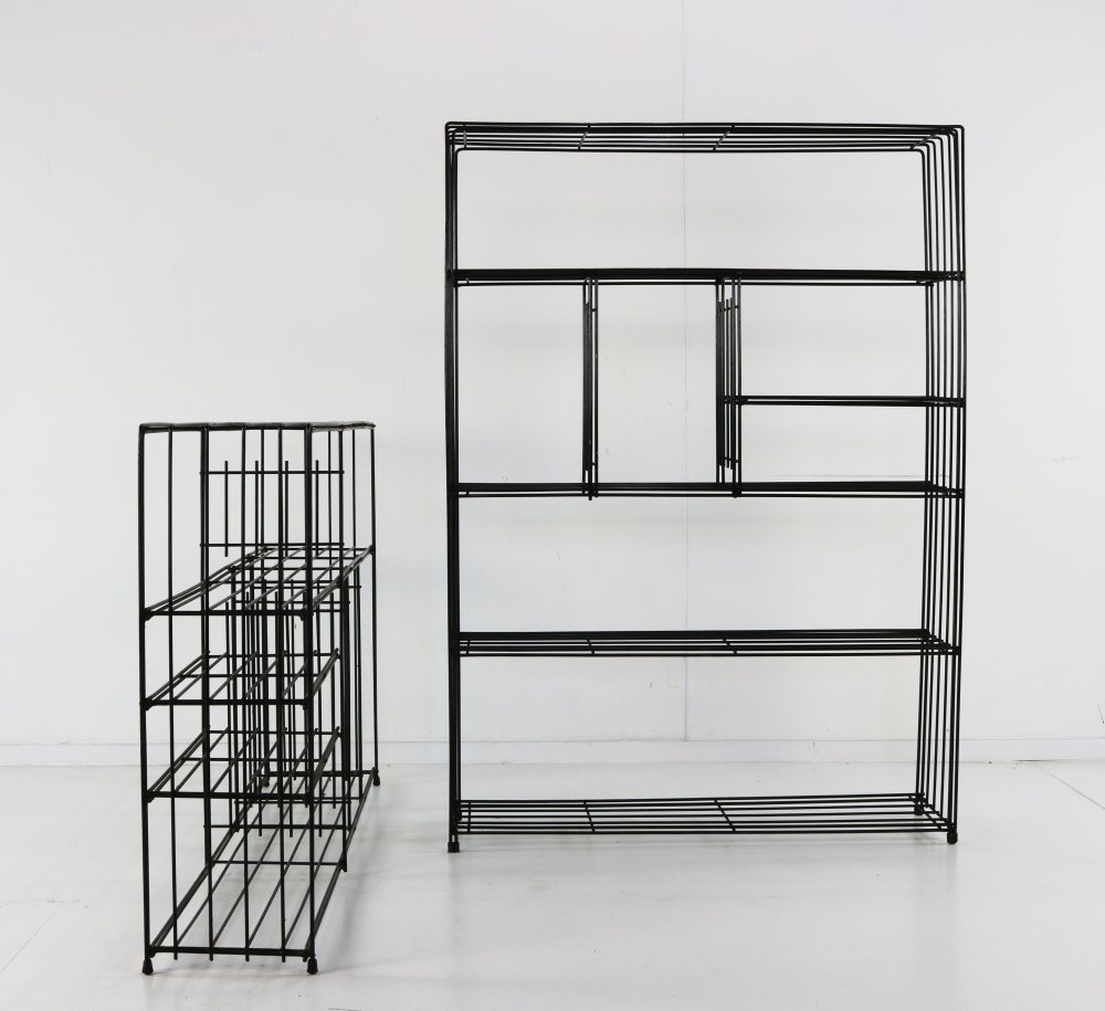 Two Pilastro metal wire room dividers with original metal plates