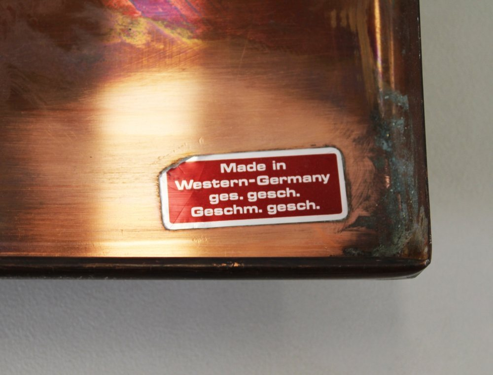 Mid-Century German coppersheet and enameled wall decoration