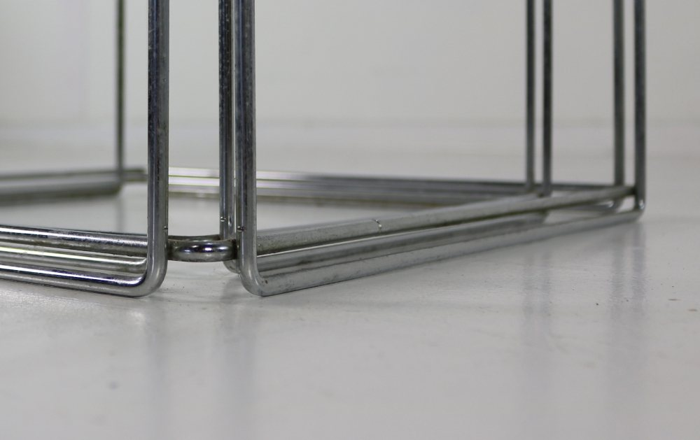 Set of two chromed metal nesting table by Max Sauze