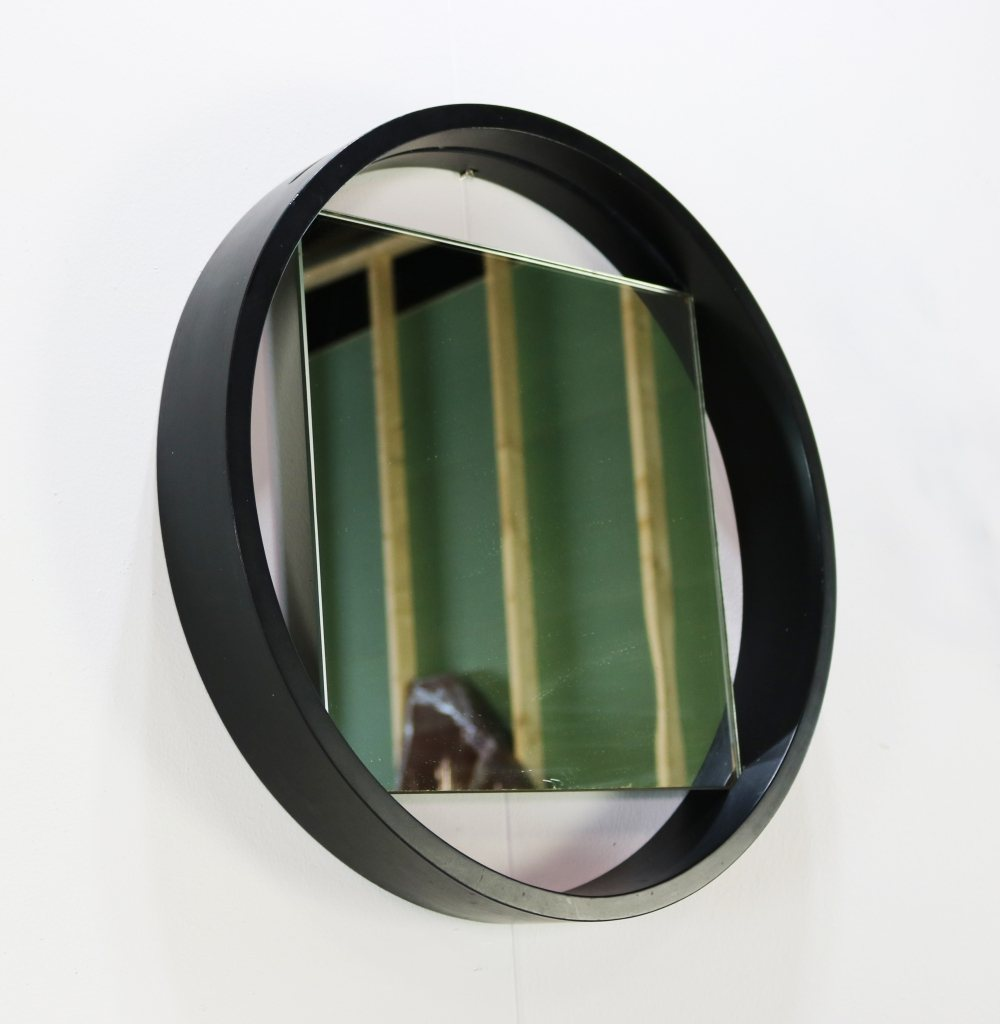 Black Benno Premsela design wall mirror for Spectrum