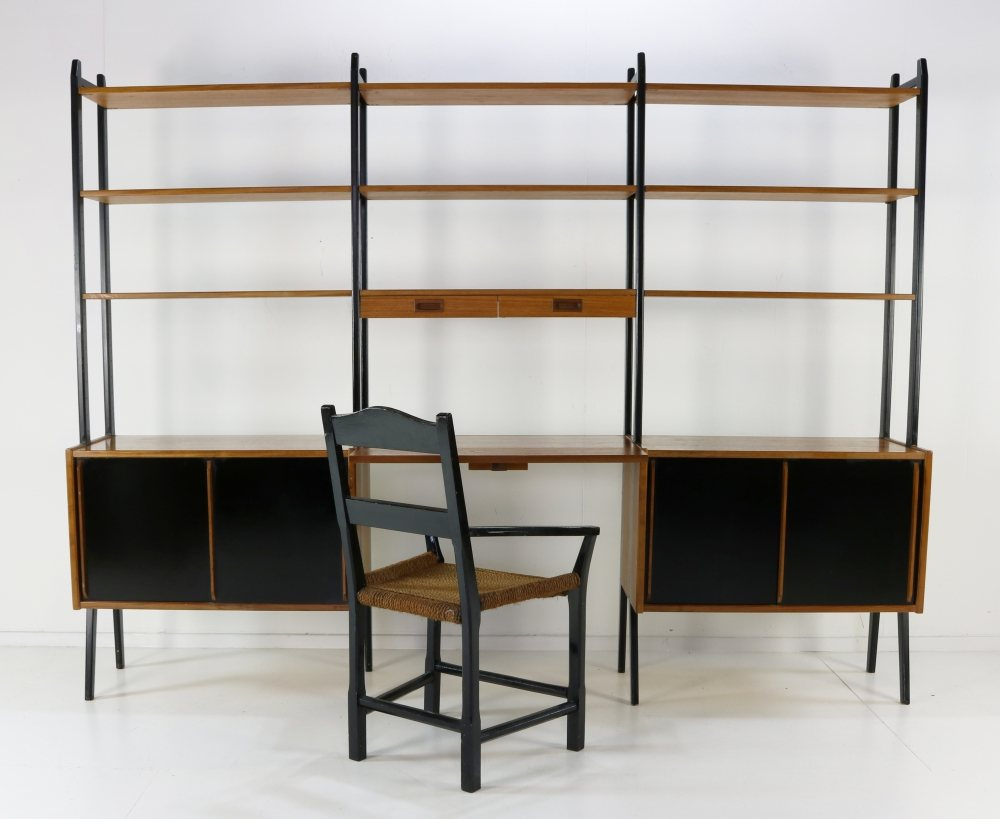 Swedish design wall system cabinet and secretary in teak