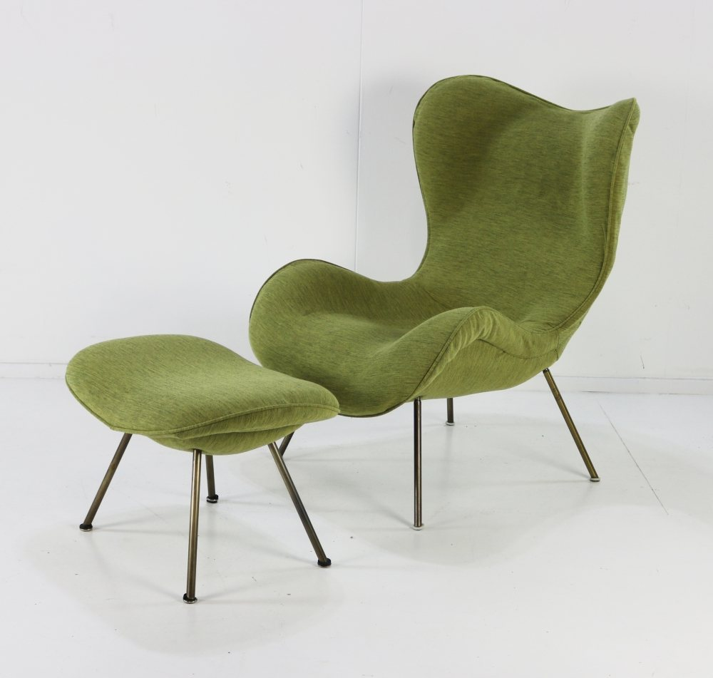 Stunning organic German design lounge chair with original footstool