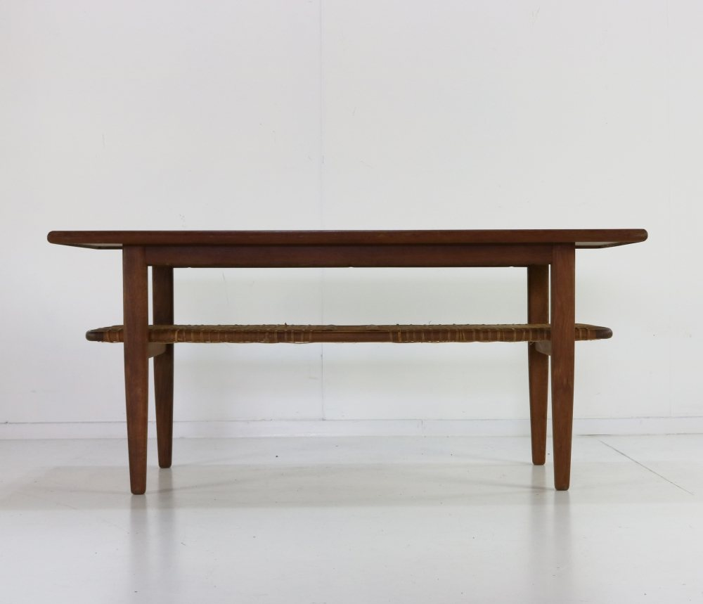 Danish design coffee table with rattan layer