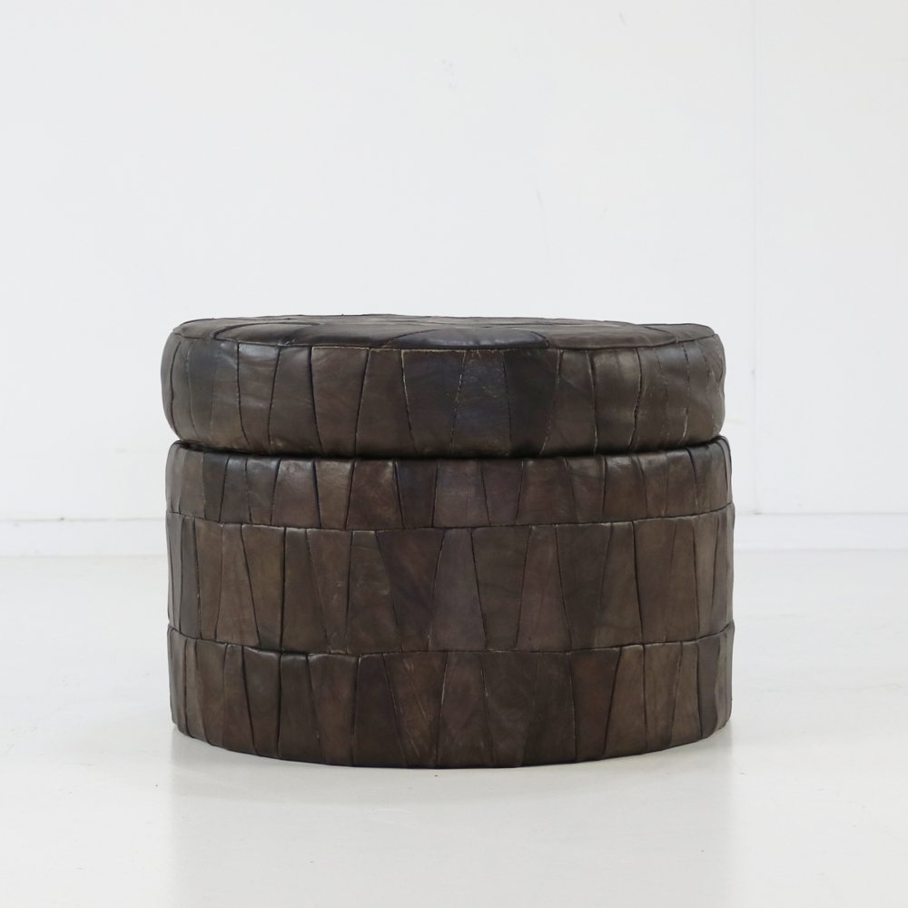 Pouf / storage box with leather patchwork