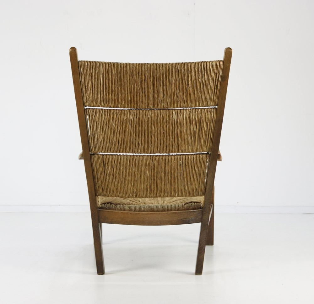Excellent thirties Dutch design rush chair