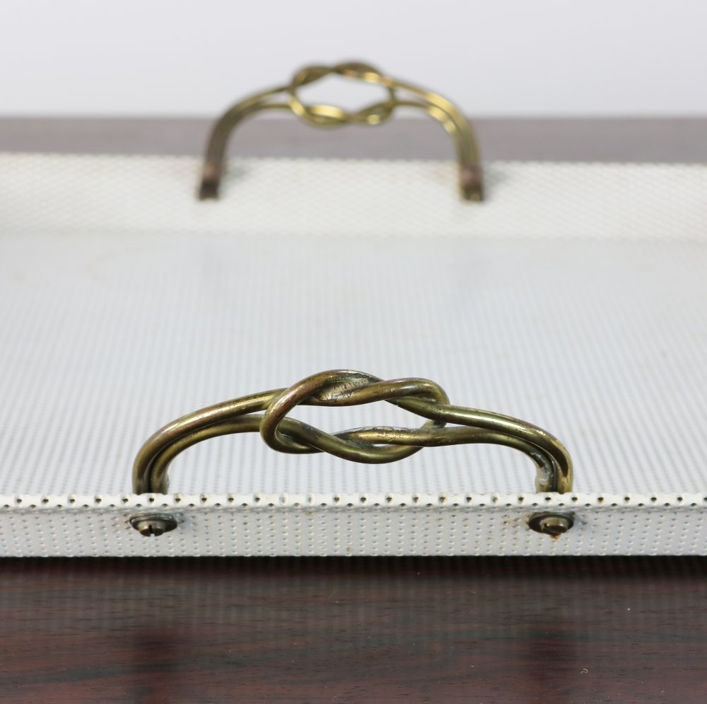 Mid-century design perforated metal serving tray