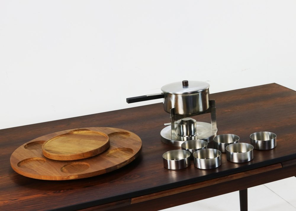 Fondue set for Stelton by Peter Holmblad and Arne Jacobsen