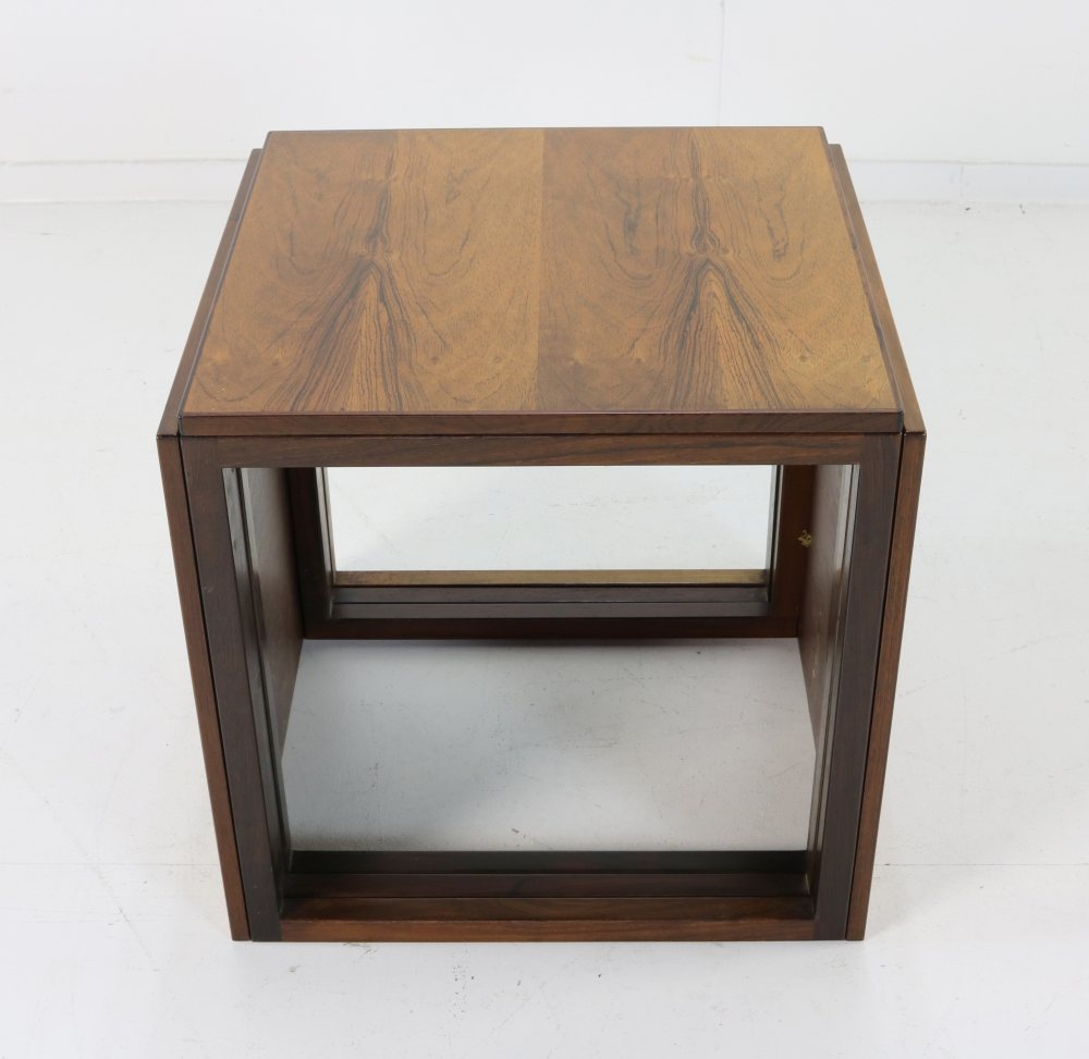 Excellent set of rosewood cube nesting tables by Kai Kristiansen