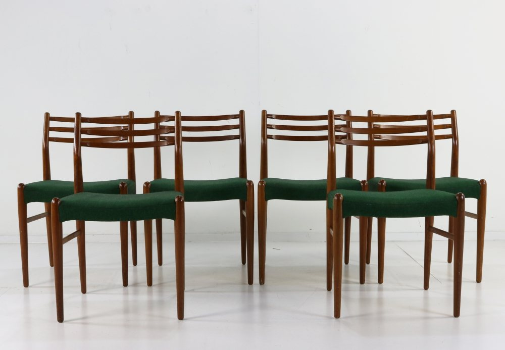 Set of six Danish design teakwood dining chairs by Johannes Andersen