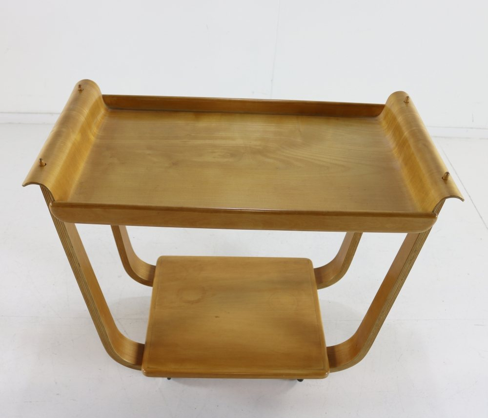UMS Pastoe bentwood serving trolley with loose birchwood tray