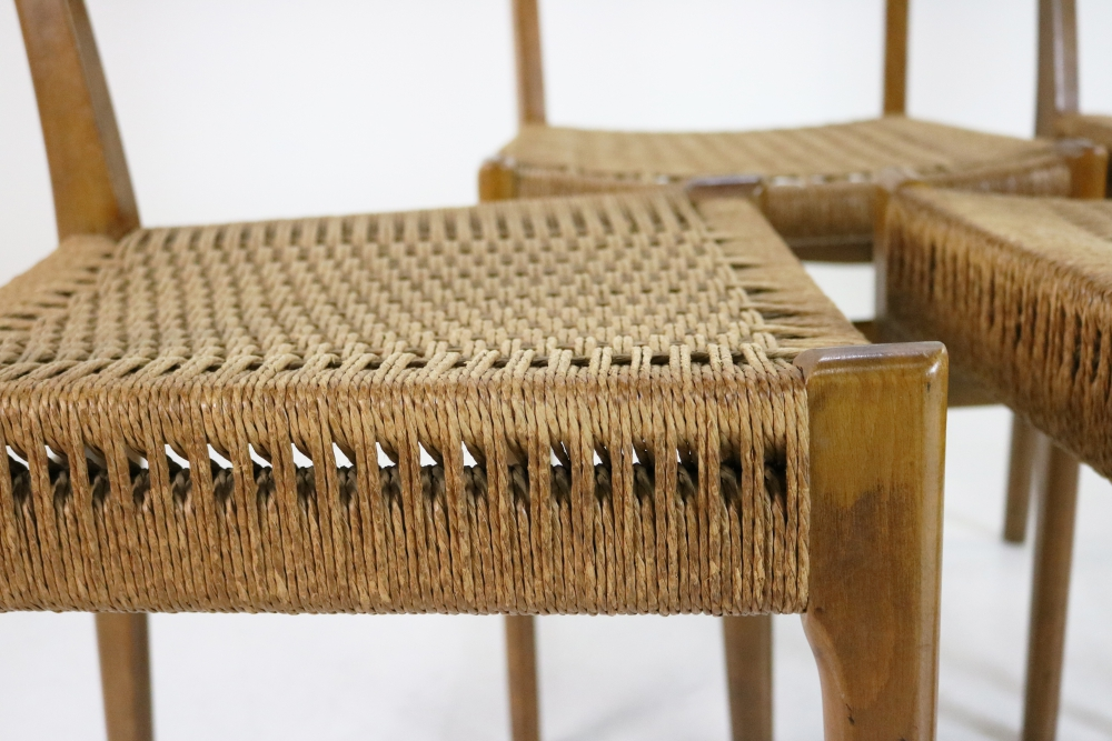 Set of four Danish design woven paper cord dining chairs