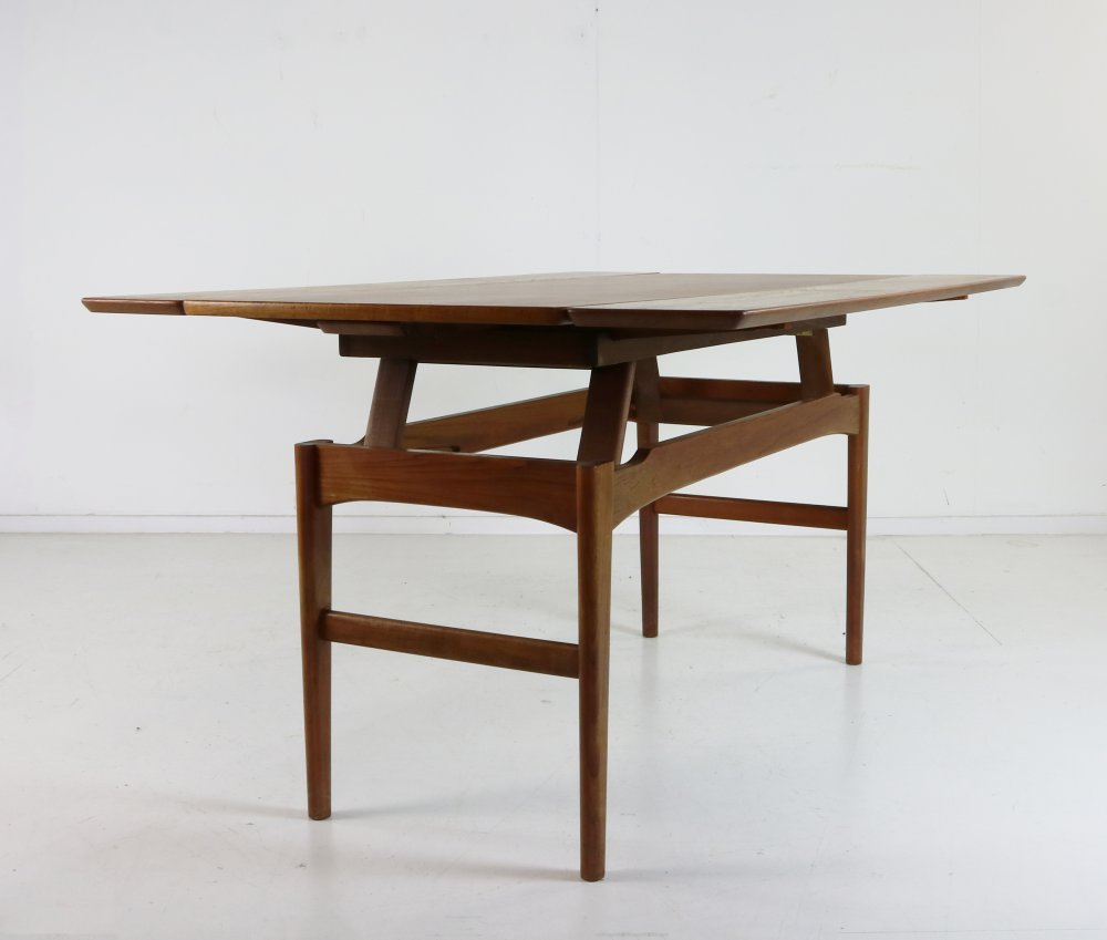 Sixties adjustable elevator coffee dining table by Niels Bach for Randers Denmark