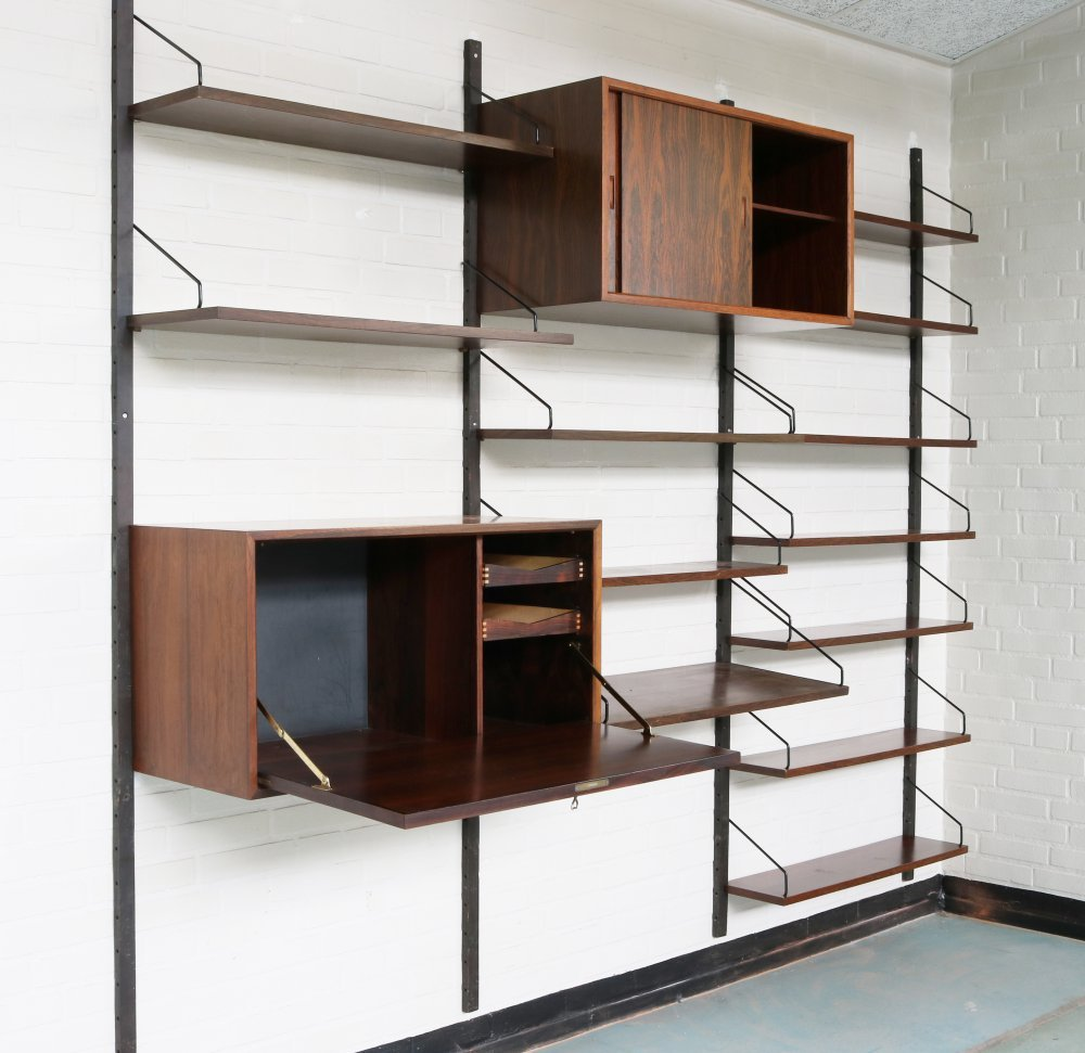 Beautiful rosewood wall system by Cadovius for Royal Denmark
