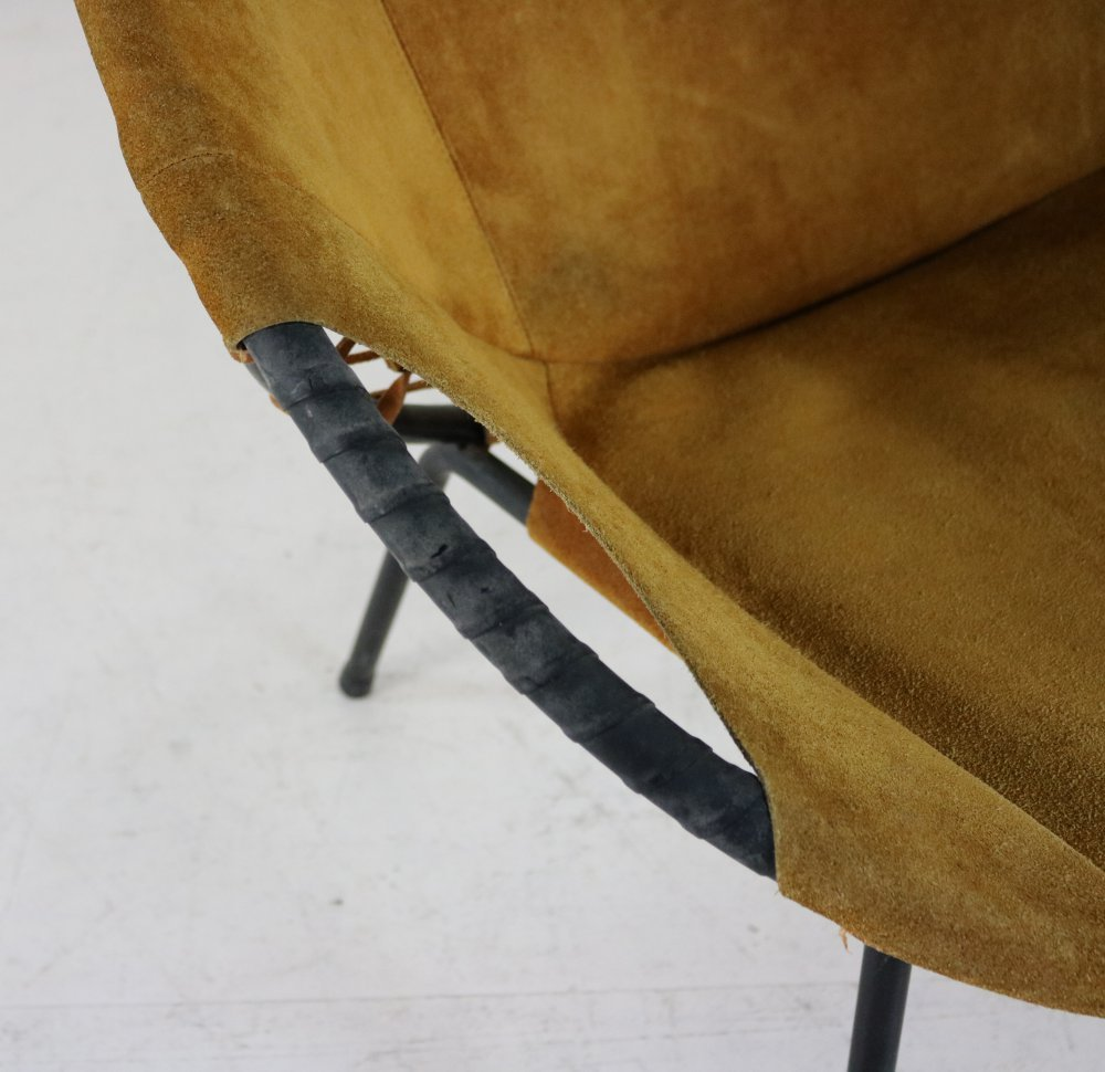 Suede leather ballon arm chair for Lusch and co