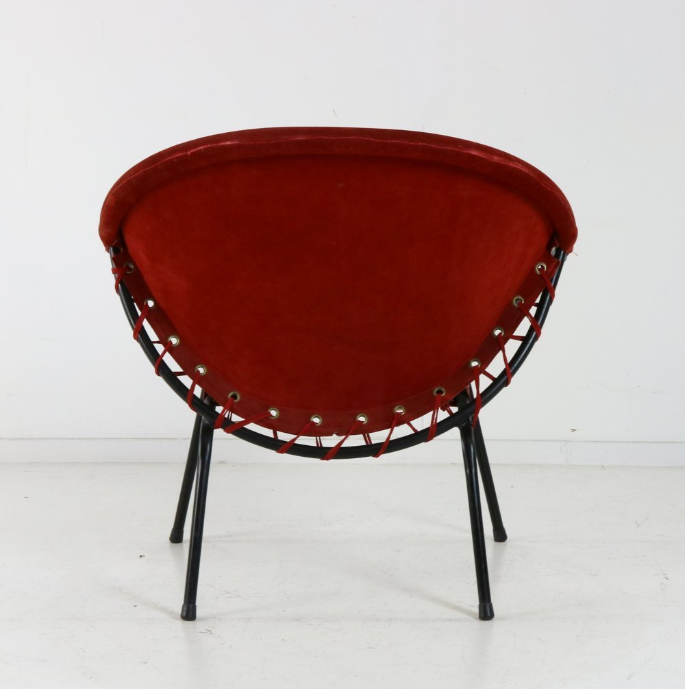 Balloon arm chair for Lusch and co in red