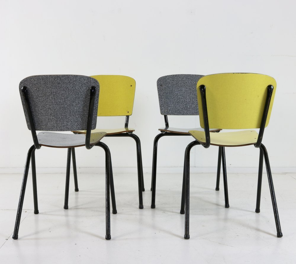 Set of four belgian design side / dinner chairs