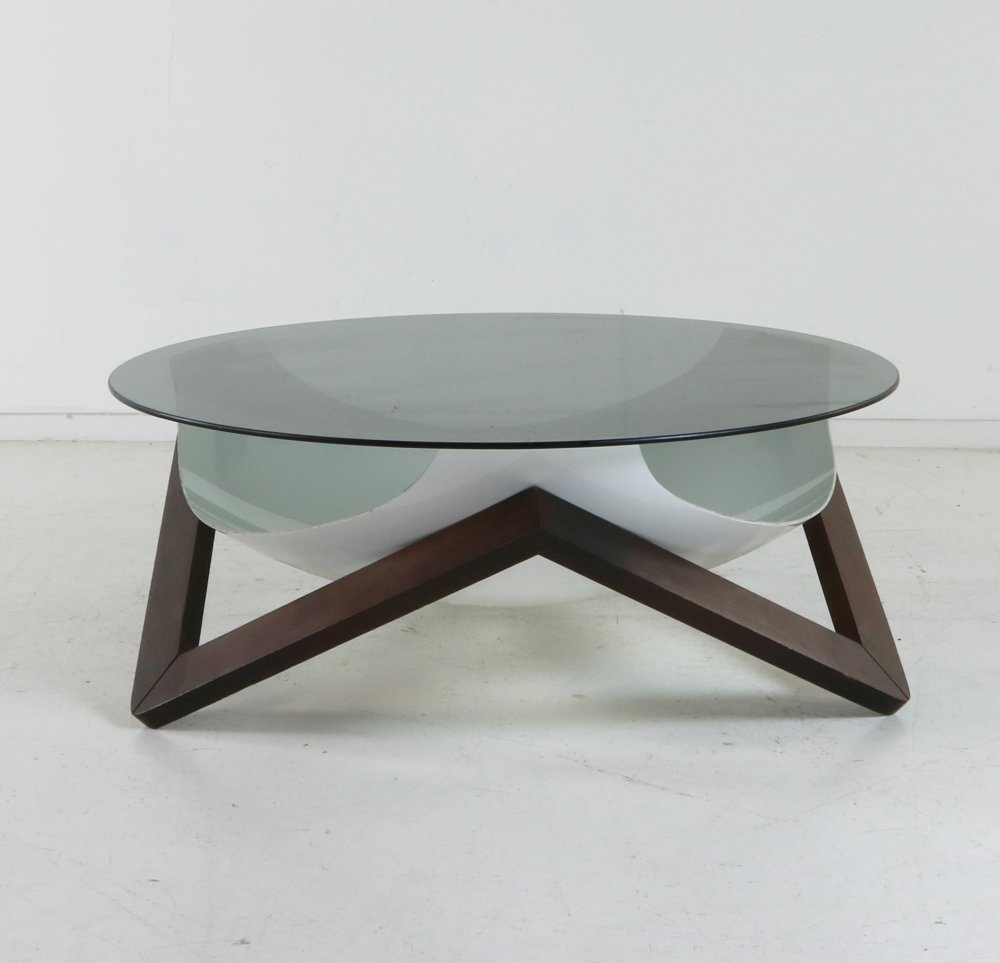 Space age design wenge frame coffee table