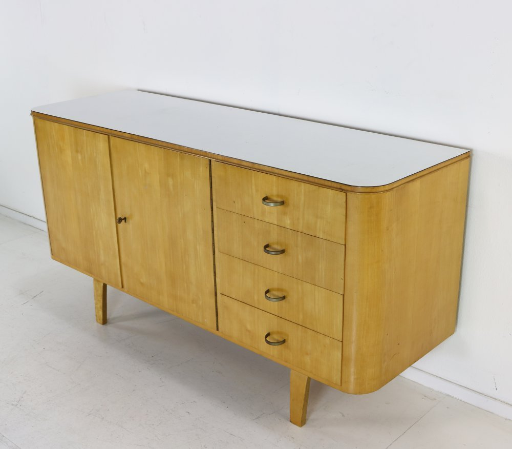 Fifties laminated birchwood cabinet by W. Lutjens