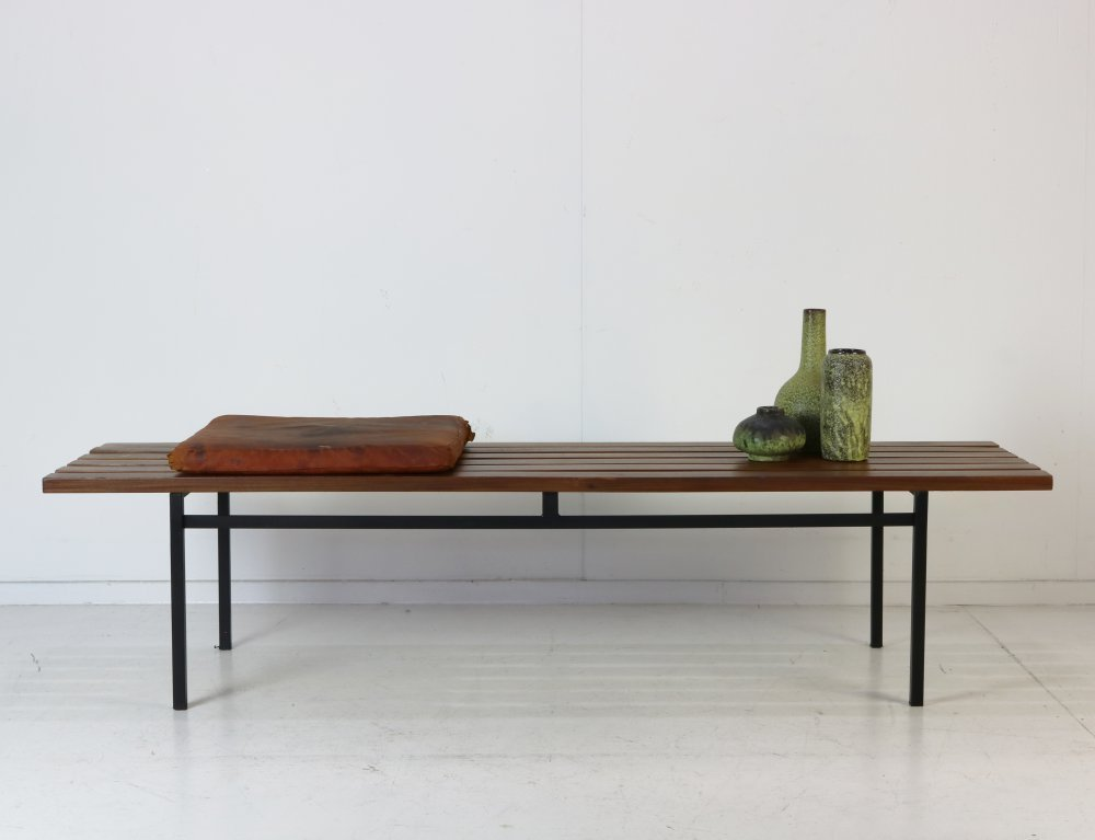 Nice elevant wooden slat bench seating by Hans Könecke