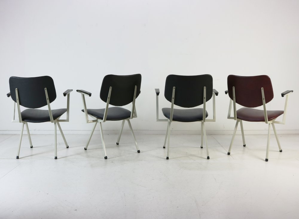 Dutch industrial design low seat arm chairs