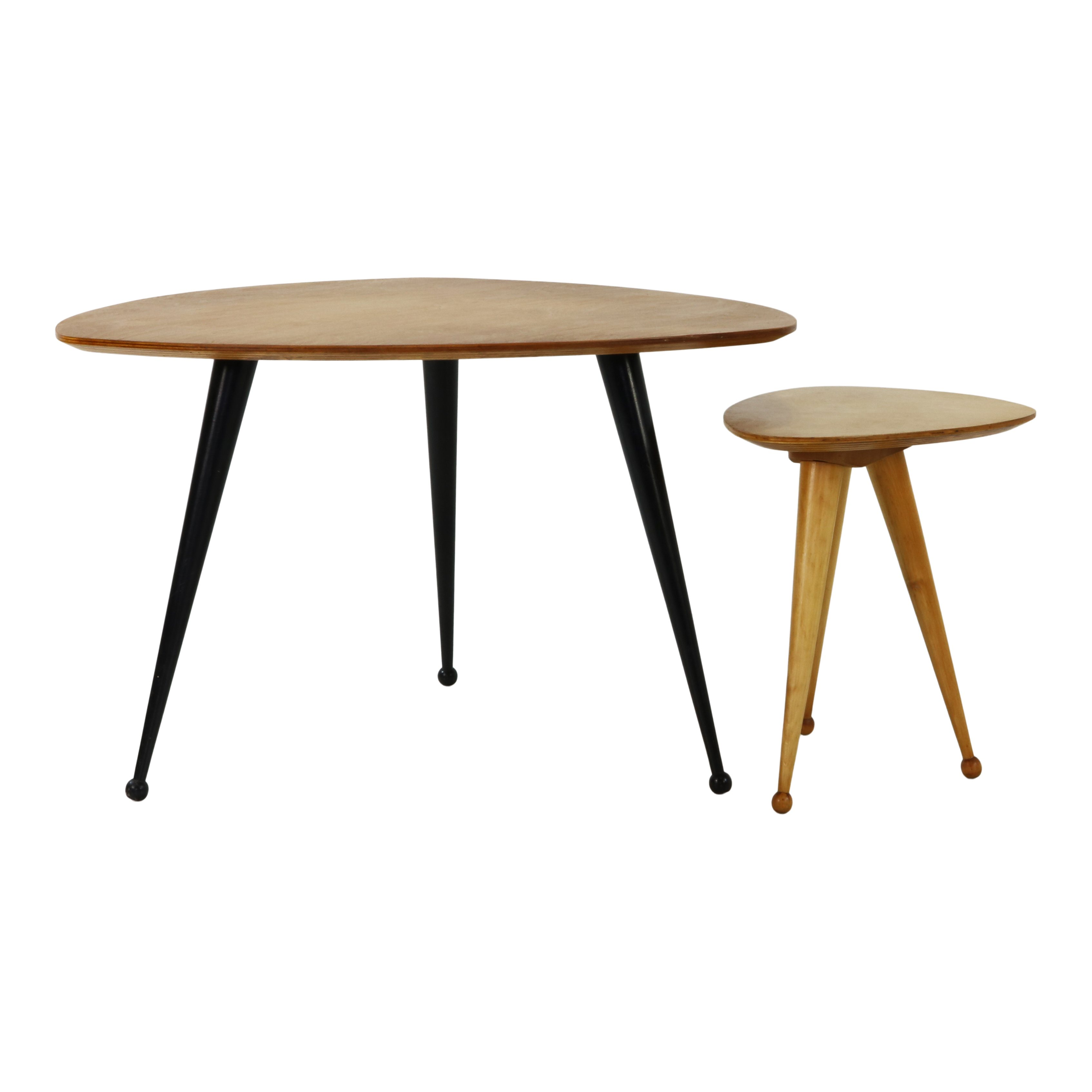 Kidney Shaped Coffee Table And Stool By Cees Braakman For Pastoe